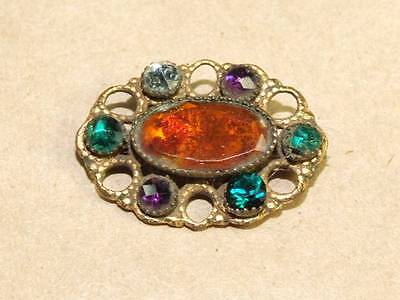 Vintage Antique Victorian Faceted Glass Oval Pin Brooch