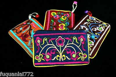 Wholesale Lot 10 Silk Brocade Floral Coin Purse Pouch wallet Free Ship