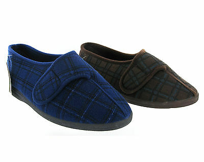 New Mens Extra Wide Fitting Slippers Machine Washable Velcro Shoes Size 6-12