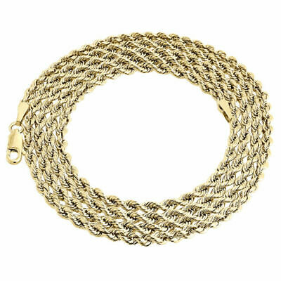 Mens Ladies 1/10th 10K Yellow Gold 3.30 MM Hollow Rope Chain Necklace 22 Inch