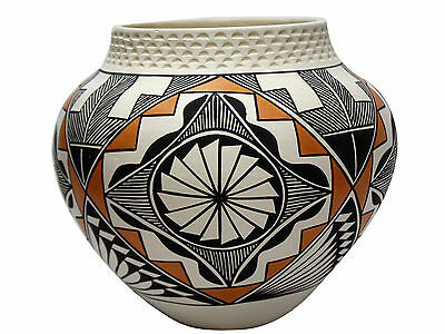 "B.D. Garcia, Acoma, Hand Coiled Pottery, Geometric Design, 8"" x 9"""