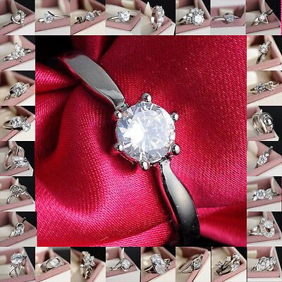 Woman Wedding White/yellow Gold Filled White Sapphire Outstanding Ring Sz7