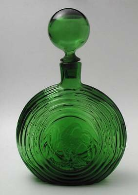 Vintage Green Glass Concentric Ring Circle American Eagle Flask Genie Bottle