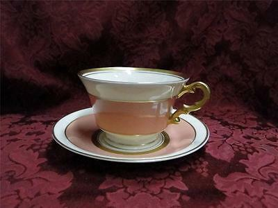 Syracuse Salisbury, Coral Band, Gold Trim, Old Ivory: Cup & Saucer Set (s)
