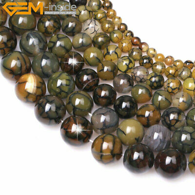 """Natural Round Gemstone Crackle Agate Beads For Jewelry Making 15"""" Wholesale DIY"""