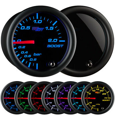 GlowShift 52mm Tinted 7 Turbo 2.0 BAR Boost Gauge w. 7 Color LED Display