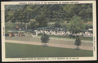 Postcard PIKESVILLE Kentucky/KY  Spinning Wheel Motel Cabins Aerial view 1940's