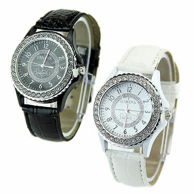 Geneva Fashion Crystal Dial Ladies Girls Quartz Analog Leather Bracelet Watches