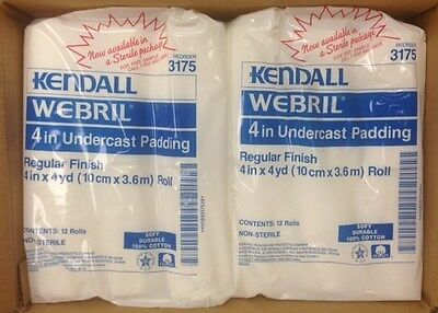 """KENDALL Webril Cotton Undercast Padding Lot of 24 #3175 4""""x4 yards COVIDIEN"""