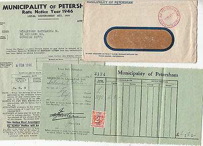 Postmark PAID AT PETERSHAM NSW council cover with rates receipts 2d stamp duty