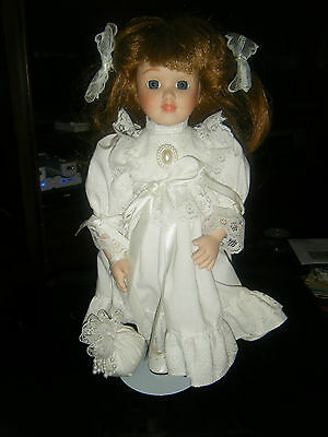 Victorian Style Dressed Doll w/Bisque Head, Arms & Legs & Stand