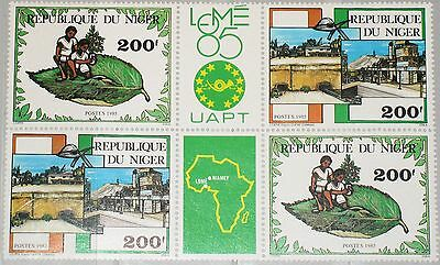 NIGER 1985 937-38 685a PHILEXAFRICA III Tree Planting Industry Lomé Chilren MNH3