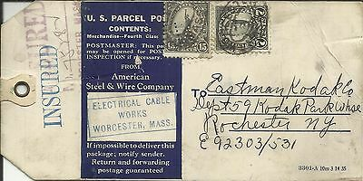 US 4th BUREAU-PERFINS Sc#566,#639 WORCHESTER MASS-Electric Cable Works- INSURED