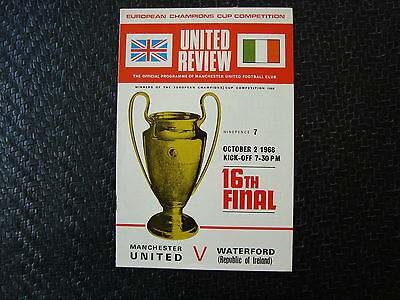 Man United v Waterford  Oct 68 European Cup 16th Final 1st Leg