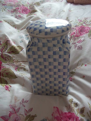 burleigh Chequers Blue Canister Lidded Jar