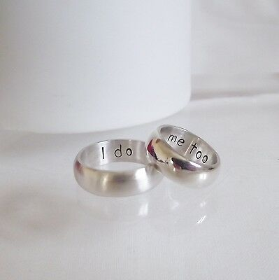 "Handmade Solid Sterling Silver Personalised ""I do, me too""  Wedding Ring Set"