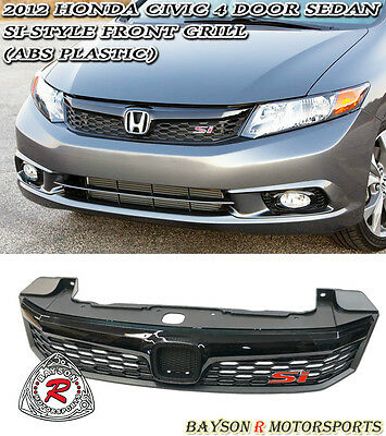 Si-Style Front Grille (Black) Fits 2012 Honda Civic 4dr