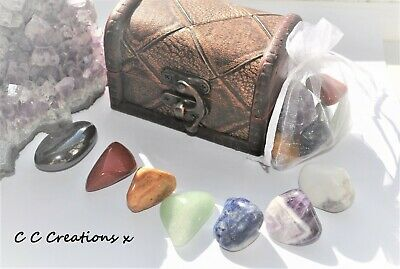 7 Piece Healing Chakra Crystals Gemstones Gift  Large Stones & Free Mini Set