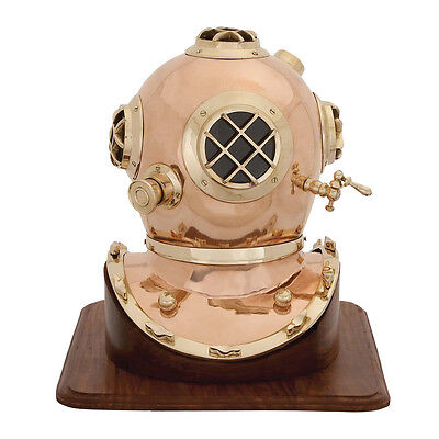 Antique Replica US Navy Mark V Brass Diving Helmet with Wooden Base - Brass