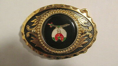 Vintage new old stock Gold & black oval Belt Buckle w/39mm SHRINER emblem black