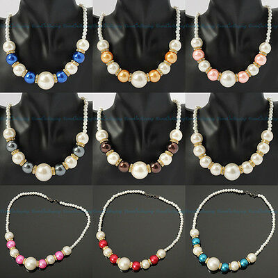Fashion Handmade Resin Pearl Beads Chain White Crystal Pendant Bib Necklace New