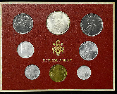 Vatican City 1967 KM#MS71 Pope Paul VI Mint Set 1 2 5 10 20 50 100 500 Lire.