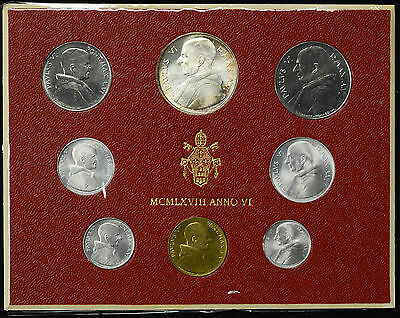 Vatican City 1968 KM#MS72 Pope Paul VI Mint Set 1 2 5 10 20 50 100 500 Lire.