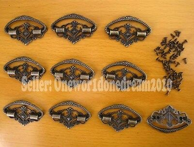 Lot of 10 Pcs Decorative Antique Brass Handle Jewelry Box Case Knob Pull 45x32mm