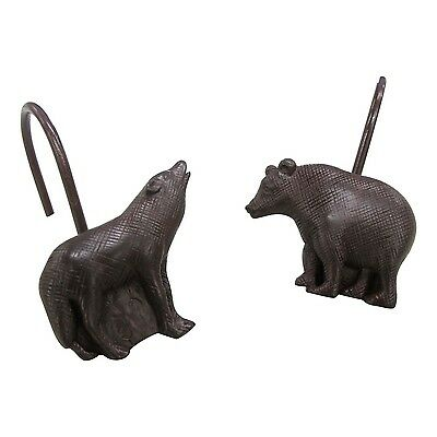Set of 12 Allure Home Creations Lodge Tapestry Bear and Wolf Shower Hooks
