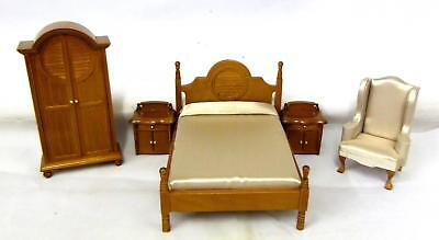 Melody Jane Dolls House Miniature Wooden Warm Walnut Double Bedroom Furniture