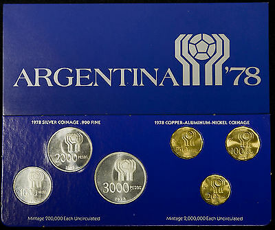 Argentina 1978 silver KM#MS5 World Cup Championship Soccer Mint Set