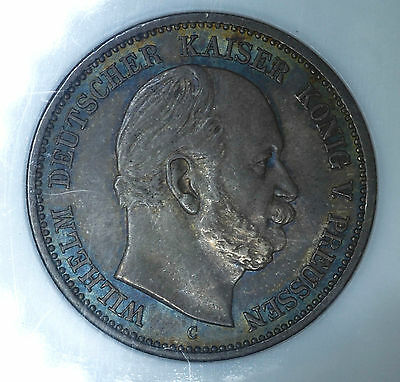 Germany-Prussia 2 Marks 1877 C MS61 NGC silver 2M Rainbow Edge Toning.
