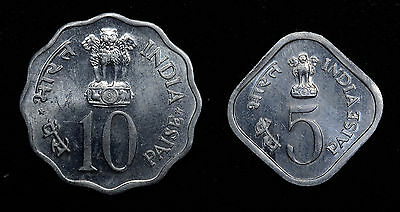 India 1976 10 Paise & 5 Paise Aluminum FAO Series Food & Work For All.