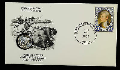 5c Five Cent 2005 P American Bison Jefferson Nickel W/ First Day Cover FDC.