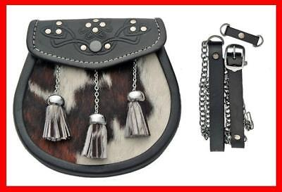 Cowhide Skin 3 Tassel Leather Kilt SPORRAN & Belt Cow Scottish Keltic Dress