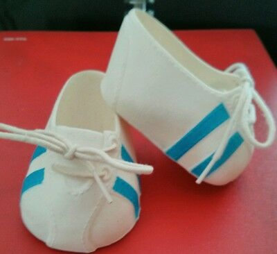 Cabbage patch Doll White Lace up Tennis Shoes with Blue Stripes vintage boy girl