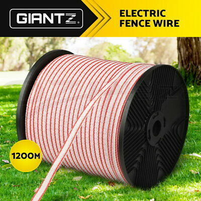 Giantz Polytape 1200m Roll Poly Tape Electric Fence Energiser Stainless Steel