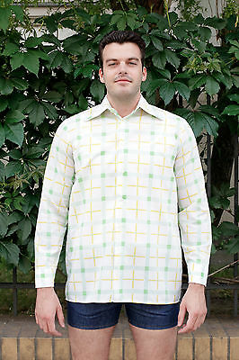Herren Hemd shirt weiß white grün gelb green yellow 70er True VINTAGE 70´s men