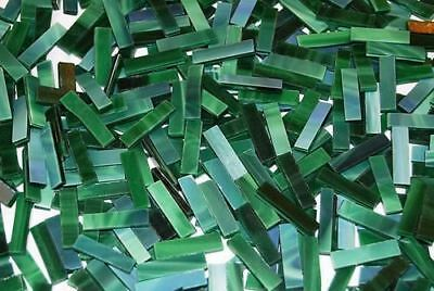 """100 1/4"""" Spruce Green Tumbled Border Stained Glass Mosaic Tiles"""