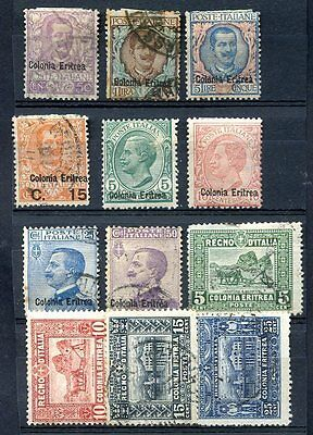 ITALY ERITREA 12 STAMPS LOT, MH & USED, VF