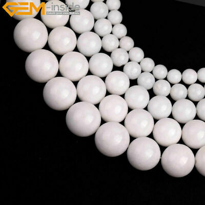"""Porcelain White Jade Stone Beads For Jewelry Making 15"""" Wholoesale Jewlery Beads"""
