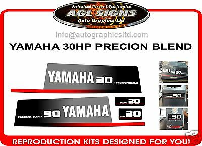Yamaha 30 Hp Precision Blend  Outboard Decals, Early 90's