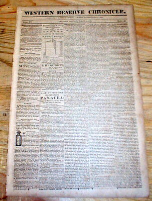 Rare1828 Warren OHIO newspaper w long report SENDING FREED SLAVES back to AFRICA