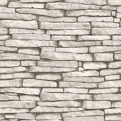 WHITE & SILVER SLATE STONE EFFECT WALLPAPER - FINE DECOR FD31292 10m NEW