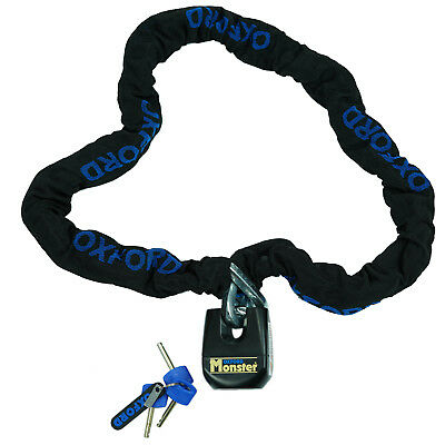 Oxford Monster Lock Motorcycle 1.5m Chain & Padlock OF802 Thatcham Security Sale
