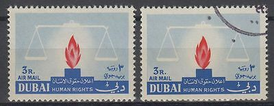 1964 UAE Dubai ** Mi.103 Human Rights, ERROR: Flame to right side [sr0045]