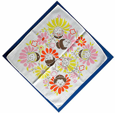Hankie CUTE 1970 Girl Scout International Brownie Faces GIFT THINKING DAY
