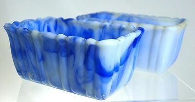 Akro Agate - No 656 Pair of Rectangular Planters - Marbleized Blue