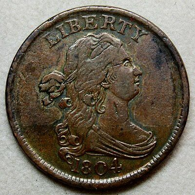 1804 Draped Bust Half Cent * Crosslet 4 with Stems * Gorgeous Color and Details