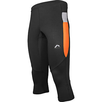 More Mile More-Tech Mens 3/4 Capri Running Tights Leggings Black/Orange